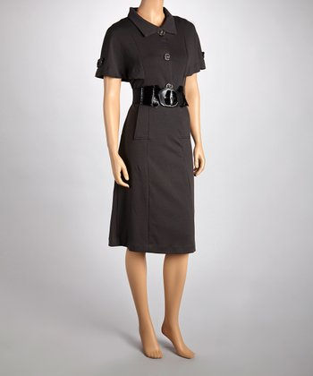 Gray Tri-Button Belted Dress