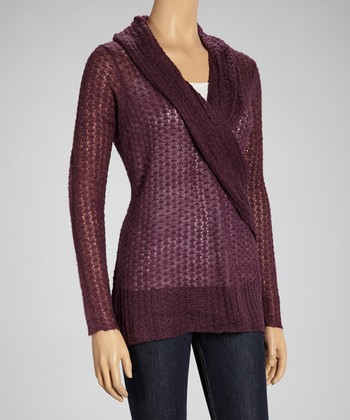 Purple Shawl Surplice Sweater