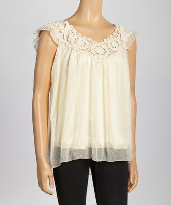 Ivory Crocheted Lace Angel-Sleeve Yoke Top