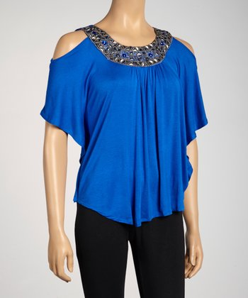 Lapis Embellished Cutout Yoke Top