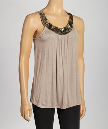 Taupe Embellished Sleeveless Yoke Top