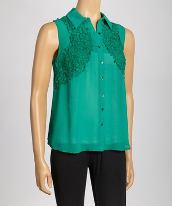 Emerald Crochet-Panel Sleeveless Button-Up