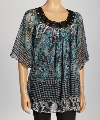 Green Circle Paisley Studded Top