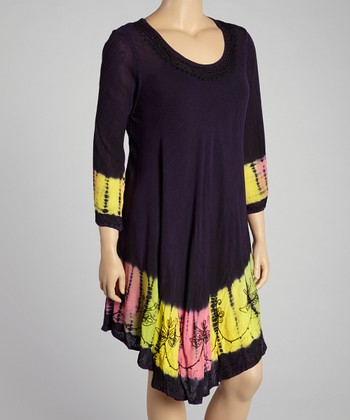 Purple Tie-Dye Embroidered Long-Sleeve Dress