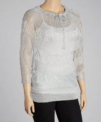 Silver Metallic Cape-Sleeve Top