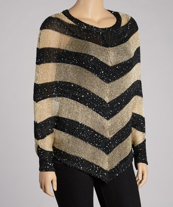Black & Gold Stripe Metallic Cape-Sleeve Top