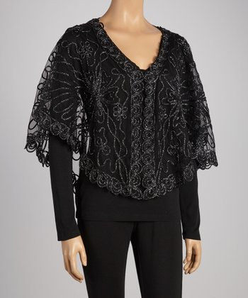 Black Sheer Sparkle Embroidered Shrug