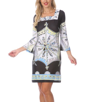 Blue & White Embellished Square Neck Dress