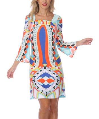 Orange & Blue Diamond Square Neck Dress