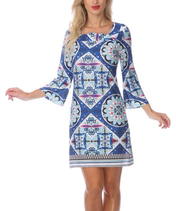 Blue & Pink Embellished Square Neck Dress