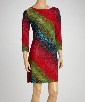 Red & Green Animal Shift Dress