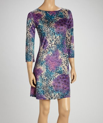 Purple & Blue Peacock Leopard Shift Dress