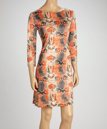 Orange & Blue Snakeskin Shift Dress
