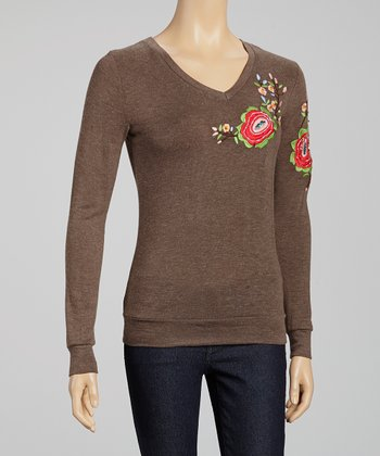 Camel Floral Embroidered Top
