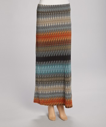 Black & Orange Zigzag Maxi Skirt