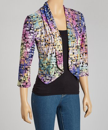 Violet Abstract Open Cardigan