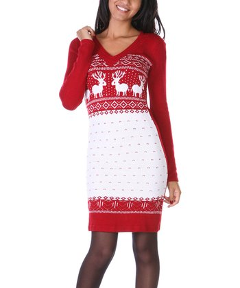 Red & White Fair Isle Sweater Dress