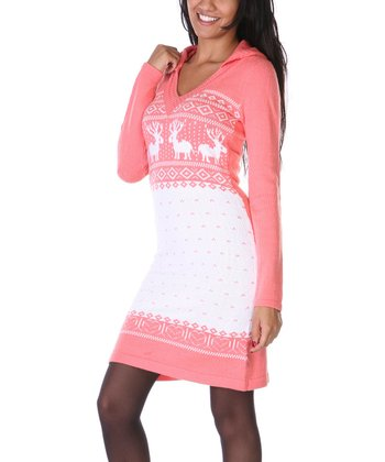 Peach & White Fair Isle Hooded Sweater Dress