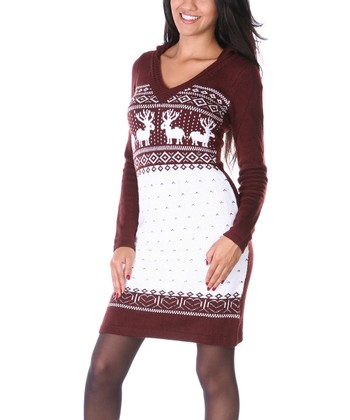 Maroon & White Fair Isle Hooded Sweater Dress