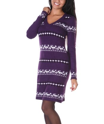 Purple & White Reindeer Sweater Dress