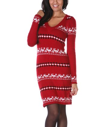 Red & White Reindeer Sweater Dress
