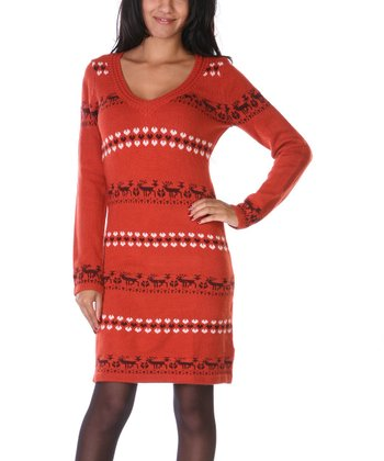 Orange & Brown Reindeer Hooded Sweater Dress