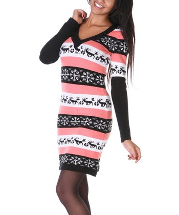 Peach & Black Snowflake Sweater Dress