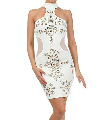 White Embellished Cutout Sleeveless Dress