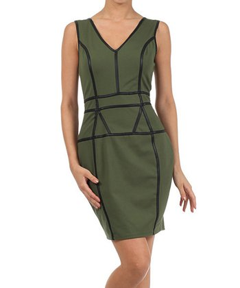 Olive & Black V-Neck Dress