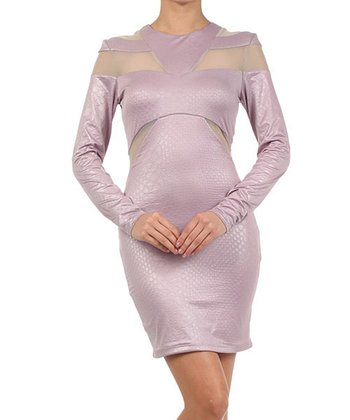 Lilac Snakeskin Mesh Long-Sleeve Dress