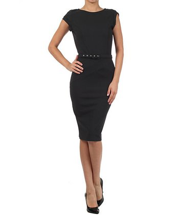 Black Belted Cap-Sleeve Dress