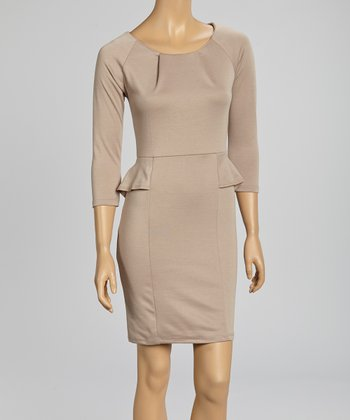 Beige Pleated Peplum Dress