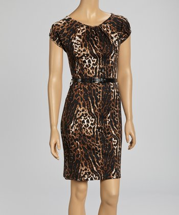 Brown Leopard Belted Cap-Sleeve Dress