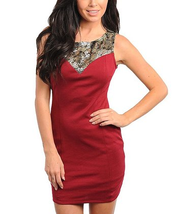 Red Beaded Sheath Dress