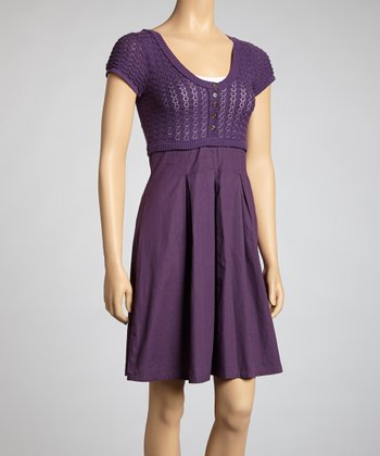 Purple Scoop Neck A-Line Dress - Women