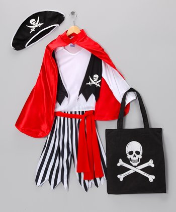 Red & Black Pirate Captain Dress-Up Set - Kids