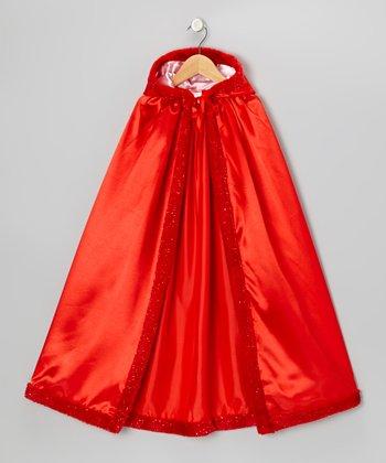 Red Satin Faux Fur Cloak