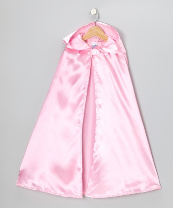 Pink Medieval Princess Satin Hooded Cape