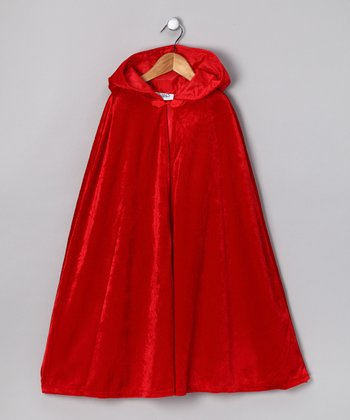 Red Velour Cape - Kids
