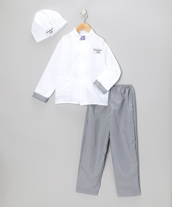 White & Black Gourmet Chef Dress-Up Set - Kids