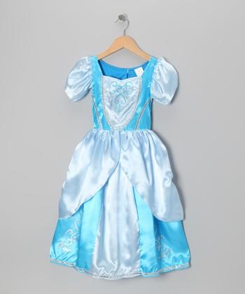 Blue Princess Puff-Sleeve Dress - Toddler & Girls