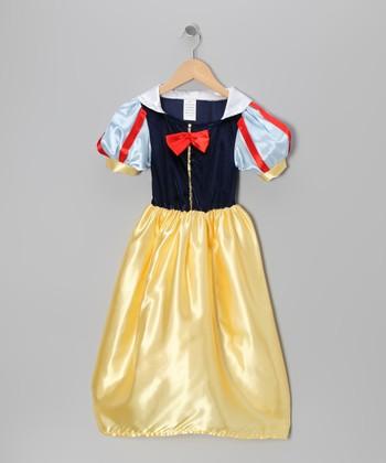 Yellow & Red Princess Puff-Sleeve Dress - Toddler & Girls