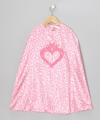 Pink Princess Carriage & Heart Reversible Cape