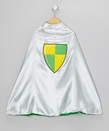 Silver & Green Knight & Dragon Reversible Cape