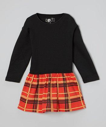 Black Plaid Organic Drop-Waist Dress - Toddler & Girls