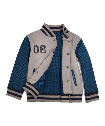 Blue & Gray Darius Organic Letter Jacket - Toddler & Boys