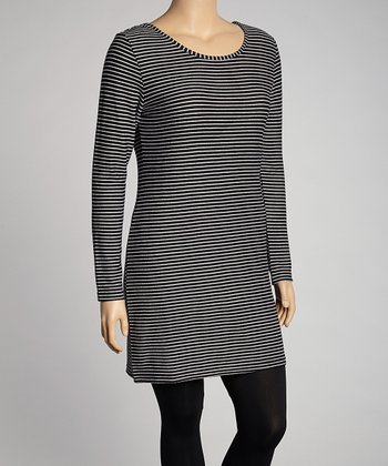 Black & White Stripes Three-Quarter Sleeve Sweater Dress - Plus