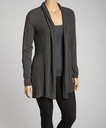 Heather Charcoal Open Cardigan - Plus