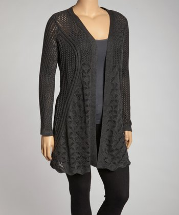 Heather Charcoal Lace Trim Open - Plus
