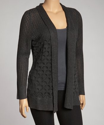 Heather Charcoal Pointelled Open Cardigan - Plus